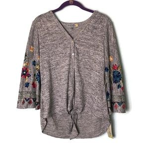 Tops - Embroidered Bell Sleeve Button Down Tie Front Top
